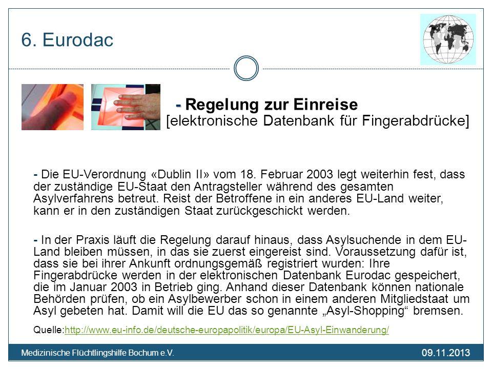 6. Eurodac - Regelung zur Einreise [elektronische Datenbank für Fingerabdrücke]